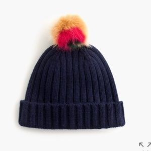 J.Crew Navy Beanie with Pom Pom NWT